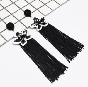 E-5045 Boho 4 Colors  Vintage Long Tassel Drop Earrings Acrylic Flower Pendant  Statement Drop Dangle Earrings for Women Vintage Jewelry