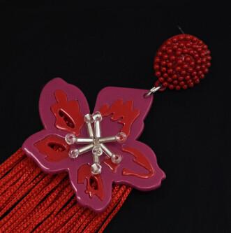 E-5045 Boho 4 Colors  Vintage Long Tassel Drop Earrings Acrylic Flower Pendant  Statement Drop Dangle Earrings for Women Vintage Jewelry