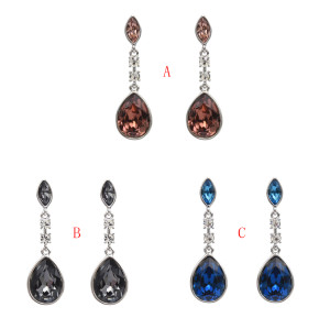 E-5042 3 Colors 925 Silver Needle Dangle Earrings Prevent Allergy Drop Earrings Shiny Women's Ear Accessories