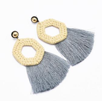 E-5047  Bohemian 5 Colors Big Acrylic Geometric Pendant Long Tassel  Drop Dangle Earrings Elegant Tassels Statement Earrings for Women