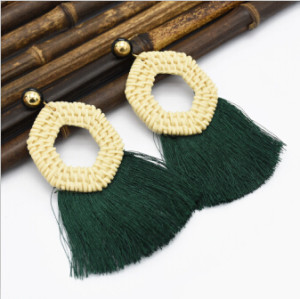 E-5047  Bohemian 5 Colors Big Acrylic Geometric Pendant Long Tassel  Drop Dangle Earrings Elegant Tassels Statement Earrings for Women