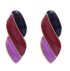 E-5046 Fashion Gold Metal Enamel Geometric Shape Drop Earrings for Women Boho Party Jewelry