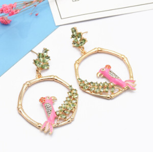 E-5040 Fashion Gold Metal Enamel Bird Rhinestone Ladies Earrings Bijoux Jewelry