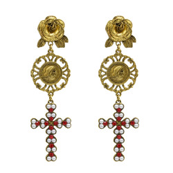 E-5041 Vintage Retro Long Alloy Flower Hollow Pearl Cross Rhinestone Drop Earrings  for Women