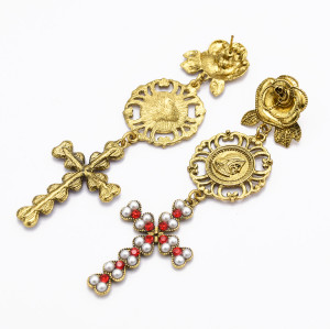 E-5041 Vintage Retro Long Alloy Flower Hollow Pearl Cross Rhinestone Drop Earrings  for Women
