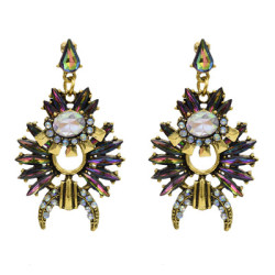 E-5043 3 Colors Rhinestone Vintage Gold-Plated Earrings