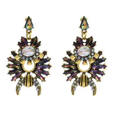 E-5043 3 Colors Rhinestone Vintage Gold-Plated Earrings