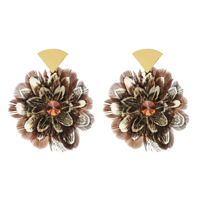 E-5048 Trendy Alloy Acrylic Feather drop dang Earring For Women Jewelry Design