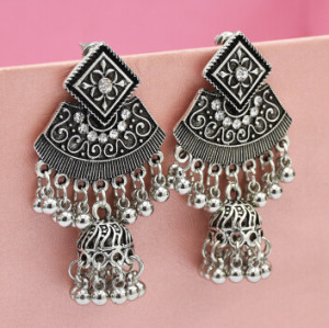 E-5052 2 Colors Boho Silver Gold Metal Bells Statement Drop Dangle Earrings for Women Festival Party Jewelry