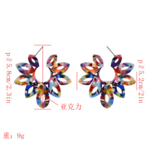 E-5053 4 Colors Trendy Alloy Multicolor  Acrylic Flower drop Earring For Women Jewelry Design