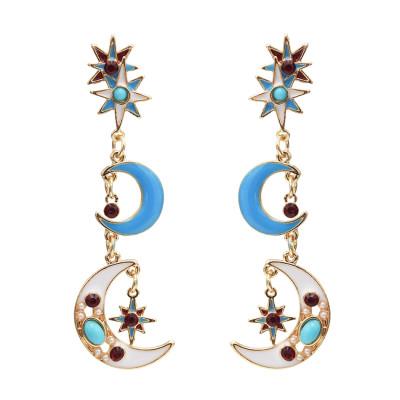 E-5050 Retro Geometric Colorful Stars Moon Enamel Long Drop Earrings for Women