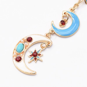 E-5050 Retro Geometric Colorful Stars Moon Enamel Long Drop Earrings for Women