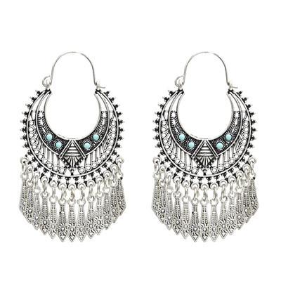 E-5051 Bohomian Silver Drop Dangle Earrings For Women Festival Party Jewelry