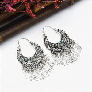 E-5051 Bohomian Silver Drop Dangle Earrings For Women Festival Party Jewelry