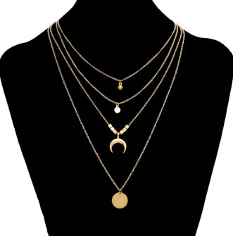 N-7158 New Fashion Gold Moon Shaped Pendant Necklace Clavicular Chain Multilayer Necklace Women Charming Jewelry