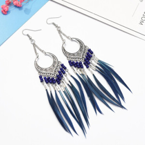 E-5060 6 Colors Trendy Alloy Tassel Bead Feather Earring For Women Jewelry Design