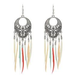 E-5061 6 Colors Bohemian Silver Metal Feather Drop Earrings for Women Wedding Party Jewelry Gift