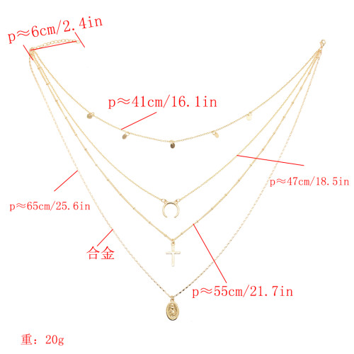 N-7159 Fashion Gold Alloy Moon Cross Pendant Necklace Clavicular Chain Multilayer Necklace 4 Layers for Women
