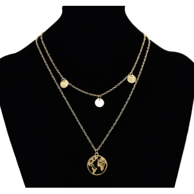 N-7160 Fashion Double Layers Gold Metal Round Pendant Necklaces for Women Party Jewelry
