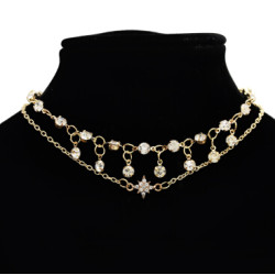N-7161 Fashion Double Layers Gold Metal Full Rhinestone Pendant Necklaces for Women Party Jewelry