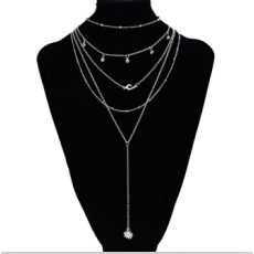 N-7163 Fashion Silver Alloy Sun Shaped Pendant Necklace Clavicular Chain Multilayer Necklace 5 Layers for Women