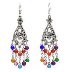 E-5058 Bohemian Silver Metal Flower Shape Resin Beaded Statement Earrings for Women Party Jewelry