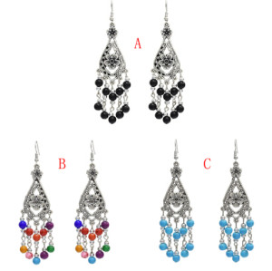 E-5058 Bohemian Silver Metal Flower Shape Resin Beaded Statement Earrings for Women Party Jewelry