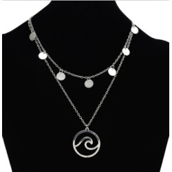 N-7166 Fashion Silver Alloy Round Circle  Pendant Necklace Clavicular Chain Multilayer Necklace  for Women