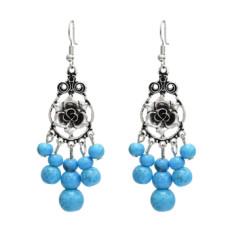 E-5059 Vintage Bohemian Silver Metal Flower Shape Resin Bead Statement Earrings for Women Party Jewelry