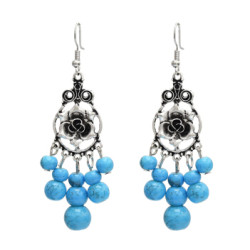 E-5059 Vintage Bohemian Silver Metal Flower Shape Resin Bead Statement Earrings for Women Party Jewelry