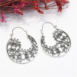 E-5057 Vintage Silver Round Cutout Carved Earrings
