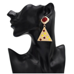 E-5062 Baroque New Fashion Gold Plated Drop Earrings Resin Stone Triangle Geometric Earrings