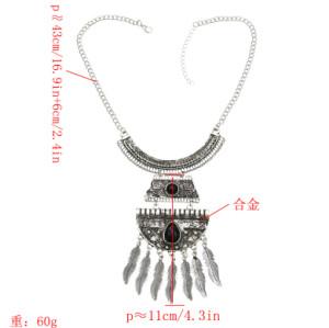 N-7167 Bohemian Leaf Moon Shaped Pendant Necklace For Women Bijoux Jewelry