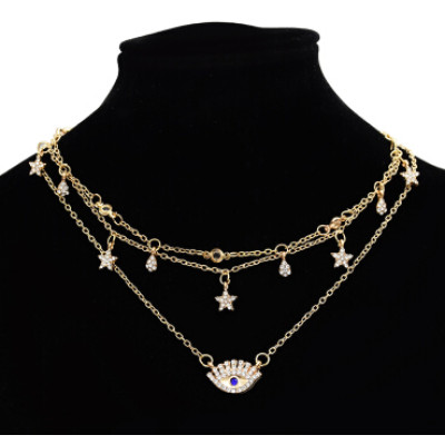 N-7165 Multilayers Gold Metal Star Evil Eye Pendant Necklaces for Women Boho Choker Party Jewelry