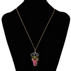 N-7168 New Design Multicolor Crystal Stone Pendant Necklaces Gold Alloy Chains Necklaces for Women Boho Choker Party Jewelry