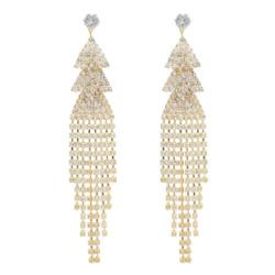 E-5065 Fashion Silver Gold Metal Crystal Long Tassel Drop Earrings for Women Bridal Wedding Party Jewelry