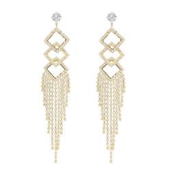 E-5066 New Fashion Silver Gold  Geometric Shape Long Metal Crystal  Long Tassel   Earring for Women Bridal Wedding Party Jewelry