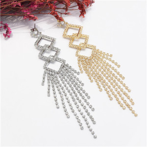 E-5066 New Fashion Silver Gold  Geometric Shape Long Metal Crystal  Long Tassel   Earring for Women Bridal Wedding Party Jewelry