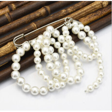 P-0425 Korean Women Fashion Cute Delicate Artifical Pearl Beaded  Brooches&Pins Multilayer  Scarf  Sweater Accessory
