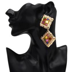 E-5073 Fashion Gold Metal Enamel Glass Drop Earrings for Women Boho Wedding Party Jewelry .