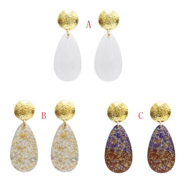 E-5072 Fashion Gold Metal Acrylic Glass Big Drop Earrings for Women Boho Wedding Party Jewelry