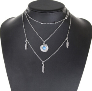 N-7174 6 Styles Fashion Silver Alloy Sun Moon Shaped Pendant Necklace Clavicular Chain Multilayer Necklace for Women