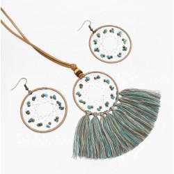 N-7172  E-5074   Ethnic Boho Handmade Dream Catcher Cotton Tassel Pendant Necklace & Earring Party Jewelry Sets