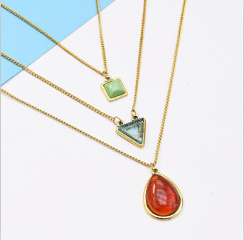 N-7170 Antique Elegant Three Multilayers Gold Metal Oval Triangle Square  Pendant Necklaces for Women Boho Choker Party Jewelry