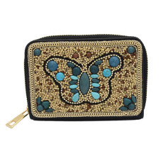 N-7178 5 Styles Turquoise Rice Beads Short Hand Bag Purse Cosmetic Bag