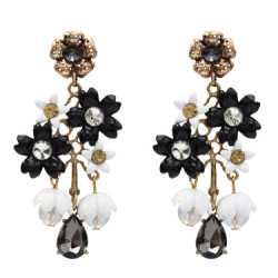 E-5075 Vintage Gold Alloy Flower Shape Acrylic Rhinestone Drop Earrings for Women Boho Wedding Party Gift