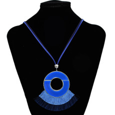 N-7176 Ethnic Boho Handmade Round Tassel Pendant Necklace For Women Party Jewelry