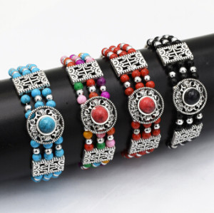 B-0922 4 Colors Boho Silver Alloy Acrylic Beads Bracelets & Bangles for Women Wedding Party Jewelry
