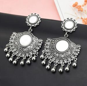 E-5085  Turkish Boho Silver Metal Bells Statement Earrings Creative Vintage Carved Mirror Drop Dangle Earrings for Women Festival Party Jewelry