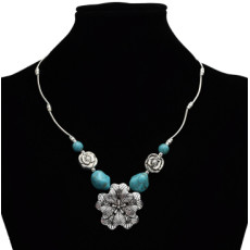 N-7175 New Fashion Charming Blue Stone Flower Chain Resin Choker Necklace For Women